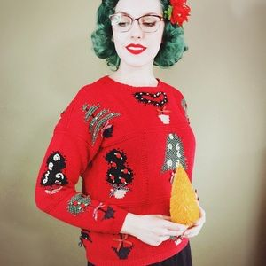 "Red Hand Knit Vintage ""Ugly Christmas"" Sweater"